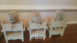 1930's Alexander Doll Company Dionne Quintuplets set in low chairs