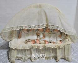 1935 Vintage All Original 8 Madame Alexander Dionne Quintuplets in Basket Bed