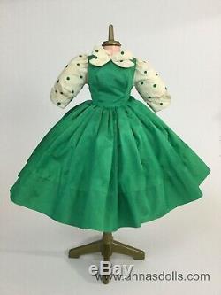 1957 Vintage Madame Alexander Cissy Doll Dress Green Taffeta with Polka Dots