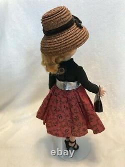 1958 CISSETTE 815 Madame Alexander Doll Red Print Skirt Strap Heels Stand & Box