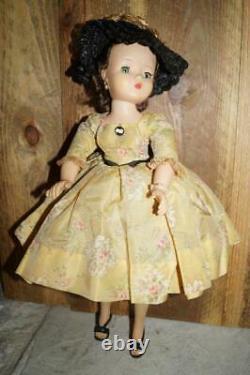 20 Brunette Cissy Madame Alexander n Tagged Yellow Taffeta Floral Dress