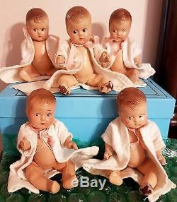 Antique Dionne Quintuplets Composition Madame Alexander Dolls Superior Clones