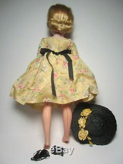 CISSY 20 Vintage Madame Alexander Doll Golden Taffeta Dress Black Straw Hat