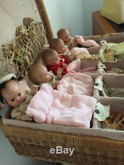 Dionne Quintuplets, Composition Baby Dolls, Madame Alexander, 1930s, Collectable