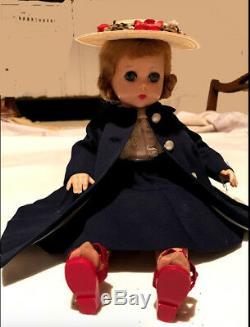 Lissy Madame Alexander 11.5 Doll 1950s navy blue coat, skirt/blouse, + all