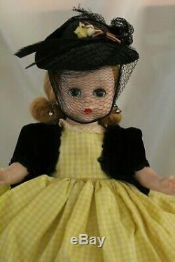 MADAME ALEXANDER 8 1950's Aunt Agatha in yellow check gown with black vest & Ha