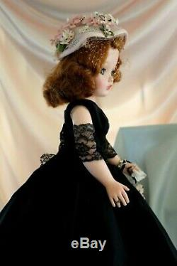 MADAME ALEXANDER Cissy in Black Taffeta dress withlace stole & Pink hat withflower