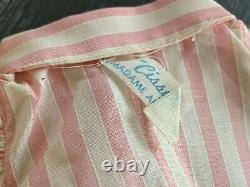 MADAME ALEXANDER PINK STRIPED CISSY DRESS with TAG VERY GOOD VINTAGE CONDITION