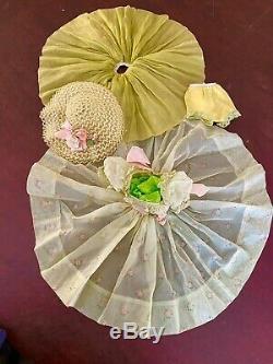 Madame Alexander Vintage Cissy Green Nylon Dress, Hat, Slip, And Panties