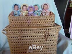 Madame Alexander Vintage Composition Baby Doll Dionne Quintuplets In Orig Basket