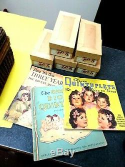 RARE Madame Alexander 1936 Dionne Quintuplets Set withBasket, Outfits & Tag + Books