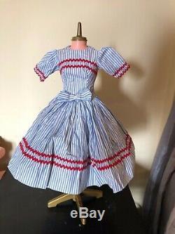 Rare 1958 Madame Alexander Cissy Blue Ticking and red Rick Rack Dress