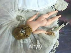 VINTAGE 1950 MADAME ALEXANDER CISSETTE DOLL tagged DRESS embroidered LACE veil