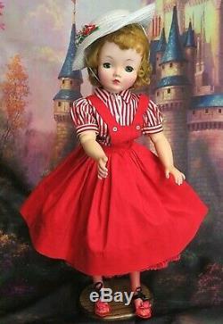 VINTAGE 1950 Madame Alexander CISSY DOLL blonde 20 in RED pinafore DRESS hat
