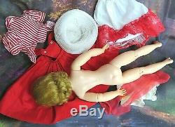 VINTAGE 1950 Madame Alexander CISSY DOLL blonde 20 in RED pinafore DRESS hat