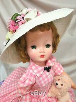 VINTAGE 1950 Madame Alexander CISSY DOLL blonde 20 in TAGGED pink DRESS hat