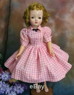 VINTAGE 1950 Madame Alexander CISSY DOLL blonde 20 in TAGGED pink white DRESS
