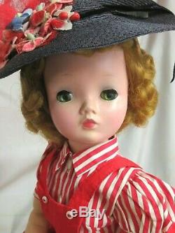 VINTAGE 1950 Madame Alexander CISSY DOLL blonde 20 in TAGGED red DRESS poodle