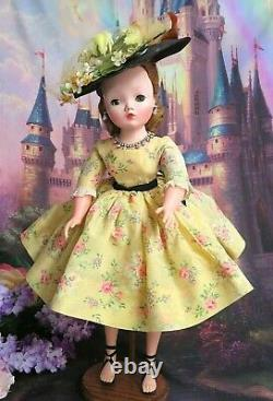 VINTAGE 1950 Madame Alexander CISSY DOLL tagged yellow DRESS hat GARDEN PARTY