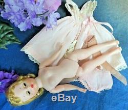 VINTAGE 1950s MADAME ALEXANDER CISSETTE DOLL blonde TAGGED DRESS pink nightgown