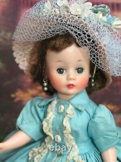 VINTAGE 1950s MADAME ALEXANDER CISSETTE DOLL tagged AQUA Blue DRESS shoes HAT