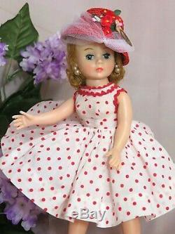 VINTAGE 1950s MADAME ALEXANDER CISSETTE DOLL tagged RED polka dot DRESS hat