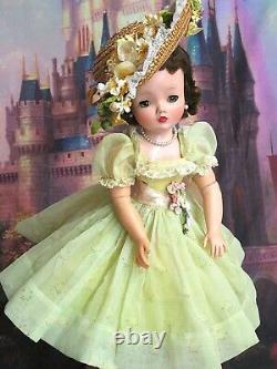VINTAGE 1950s Madame Alexander CISSY DOLL tagged DRESS Garden Party HAT brunette