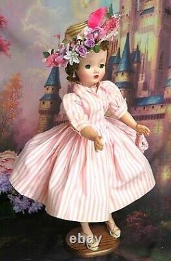 VINTAGE 1950s Madame Alexander CISSY DOLL tagged DRESS pink stripe HAT Tosca