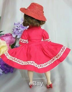 VINTAGE 1959 MADAME ALEXANDER CISSETTE DOLL Brunette TAGGED DRESS red HAT shoes