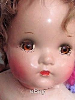 VINTAGE antique 1940 MADAME ALEXANDER Baby McGuffy DOLL composition OLD dress 24
