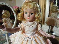 VTG Madame Alexander Suntan Wendy Ann Doll Blonde Mohair ORIG Pink Dress 14.5