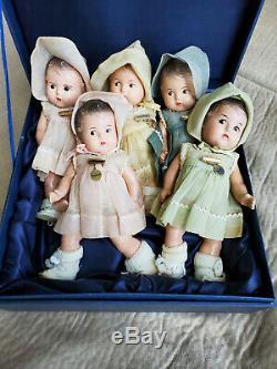 Vintage 1930s Madame Alexander Composition Dionne Quintuplets Baby Doll Set 1930