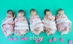 Vintage 1930s Set of 5 Unmarked Composition Quints Dionne Quintuplet Dolls