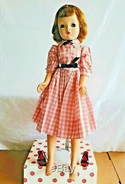 Vintage 1950 Madame Alexander Cissy Doll 20 in Tagged Pink Gingham Dress/Shoes