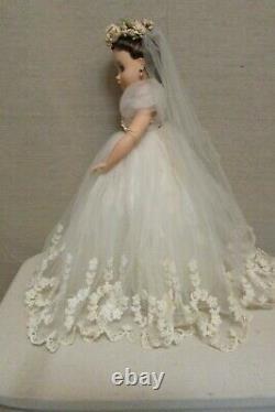 Vintage 1950's Madame Alexander Elise Bride Doll Brunette 16 Jointed