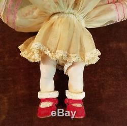 Vintage 1950s Madame Alexander- kins Doll with Red Velvet Side Snap Shoes & Hat