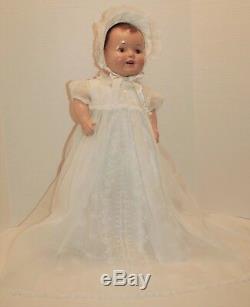 Vintage 23 Baby Doll 1940's she wears a custom Rodell Christening dress, hat