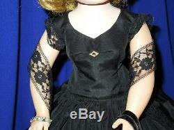 Vintage 50's Madame Alexander 20 Cissy doll in black silk taffeta cocktail