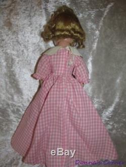 Vintage Madame Alexander 15 Hard Plastic Little Women Meg In Pink Check Dress