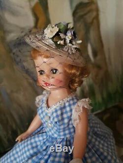 Vintage Madame Alexander 1950's Cissette Doll in Blue & White Gingham Dress