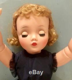 Vintage Madame Alexander Cissy Doll 20 1950s Tagged Navy Dress WithClock Lovely