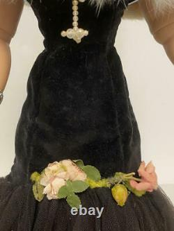 Vintage Madame Alexander Cissy Doll In Black Velvet, Net Gown, Jewelry, Shoes