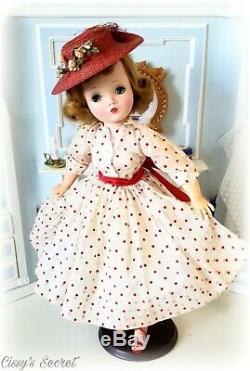 Vintage Madame Alexander Cissy Doll in Polka Dots & Original Hat Circa 1956