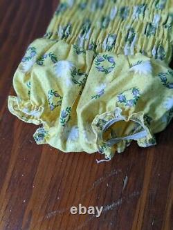 Vintage Madame Alexander Cissy Tagged Yellow Bathing Swim Suit Purple Flowers