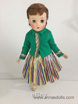 Vintage Madame Alexander Elise Doll in 1959 Ribbon Skirt & Green Mandarin Jacket