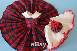 Vintage Rare Red Plaid Madame Alexander Cissy Dress Purse And Slip From 1955