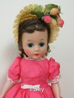 Vtg 1950s Alexander CISSETTE Doll Brunette Tagged Cotton Dress & Orig HAT